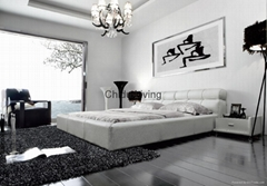 modern king leather bed
