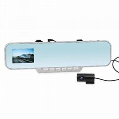 Rear view mirror car black box with back camera, bluetooth