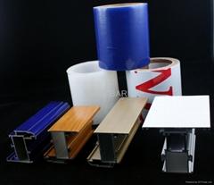 blue film applied to aluminum profile