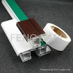 milky white film applied to UPVC profile