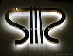 Backlit stainless steel letter