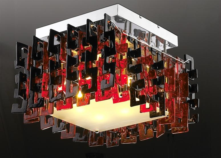 hotel decoration crystal ceiling lamp black & red glass lights 1