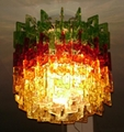 hotel decoration crystal ceiling lamp black & red glass lights 3