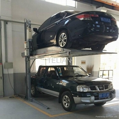 two post double deck car parking lift
