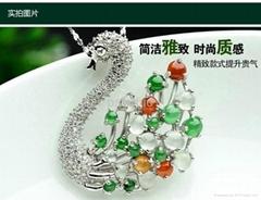 925 Silver rhodium three-color ice surface swan eggs Jade (A cargo) Pendant