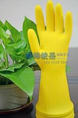 黃色牛觔乳膠橡膠防水洗碗洗衣家務工業防護膠手套