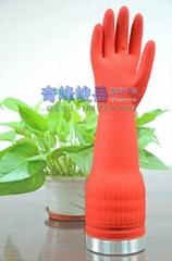红色加长防水加厚橡胶乳胶手套