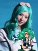 wholesale synthetic fiber wavy Kanekalon silk dark blue cosplay wig 1