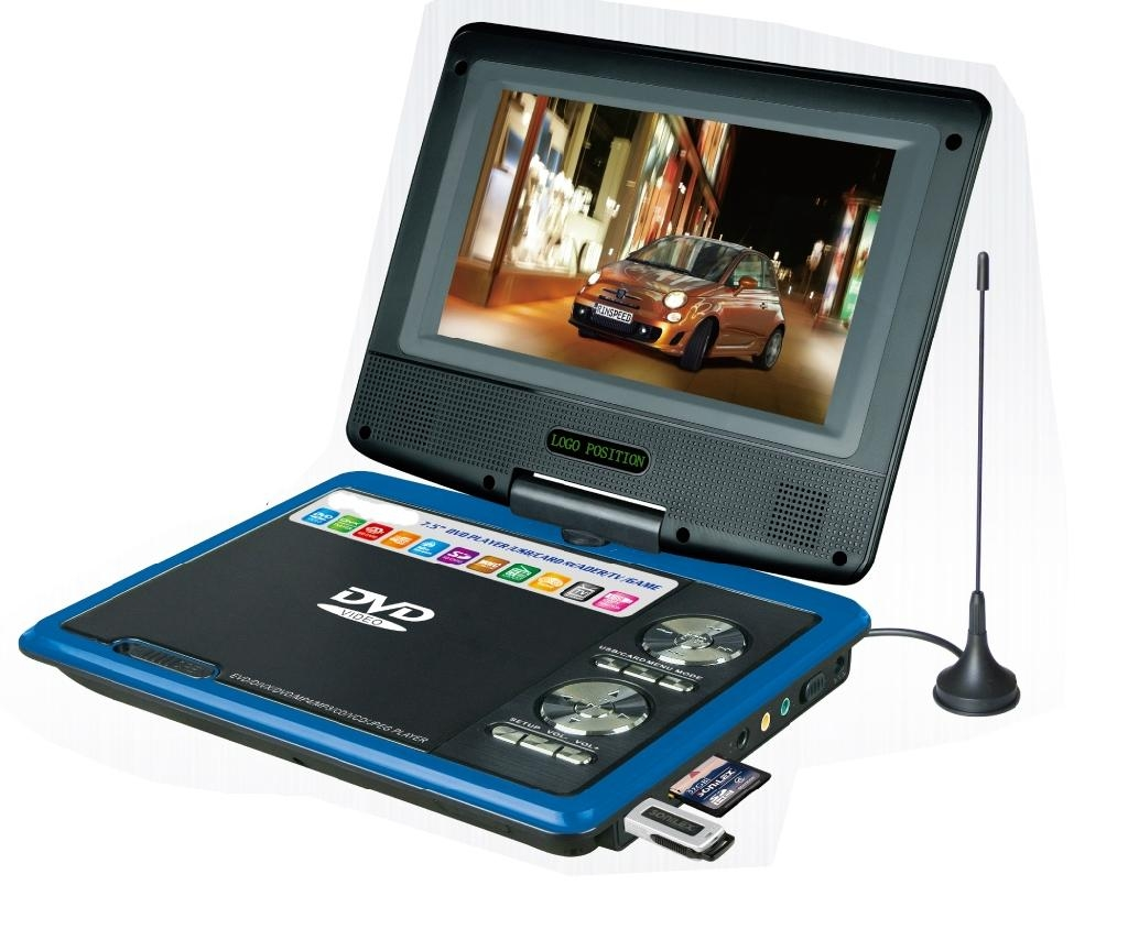7 inch portable dvd player with dvd tv fm usb game ce rohs with 3d function pd718d malanzs. Black Bedroom Furniture Sets. Home Design Ideas