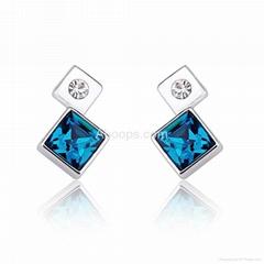 Rhodium Plated Cube Stud Earrings