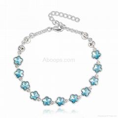 Fashion Flower Bracelet Made with Genuine Austrian Crystals