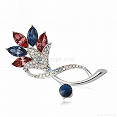 Fashion Flower Brooch Made with Genuine Austrian Crystals