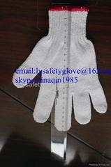 10 Gauge white cotton knitted safety glove