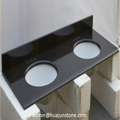 Absolute Black Granite Bathroom Vanity Tops with Double Sinks