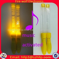 Sound controlled Led flashing glow stick  light baton Manufacture and Supplier