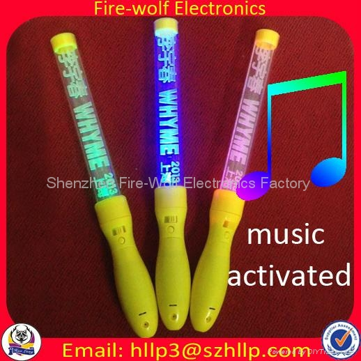 Sound controlled Led flashing glow stick  light baton Manufacture and Supplier  2