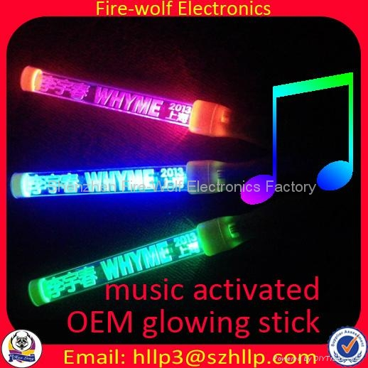 Sound controlled Led flashing glow stick  light baton Manufacture and Supplier  3