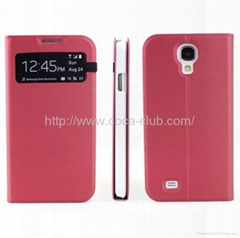 Wiredrawing Processed Metallic-Feeling Leather Cover Case for Samsung Galaxy S4