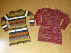 ladies' V collar knitting sweater skirt