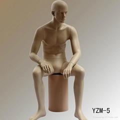 Fiberglass display clothing cheap sitting male mannequin