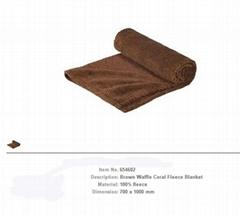 Brown  Waffle Coral Fleece Blanket