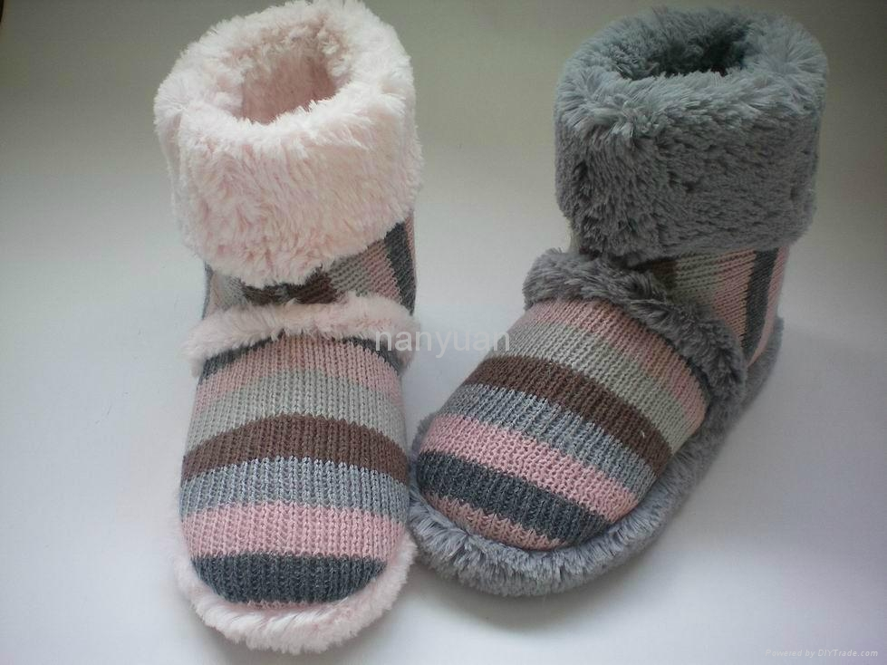 knitted fabric with faux fur indoor boot slipper for women 36-41 1