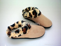 Faux suede with leopard faux fur indoor slipper for women 36-41