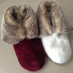 Flannel with faux rabbit fur women indoor boot slipper 36-41
