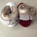 Flannel with faux rabbit fur women indoor boot slipper 36-41 2