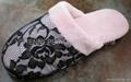 Lace with soft velboa women slipper