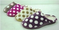 Dot printed coral fleece women indoor slippers with TPR sidewall sole 1