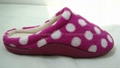 Dot printed coral fleece women indoor slippers with TPR sidewall sole 2