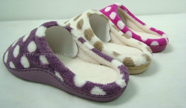 Dot printed coral fleece women indoor slippers with TPR sidewall sole 3