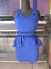 2014 lady sleeveless peplum fitted dress spaghetti strap back invisible zipper