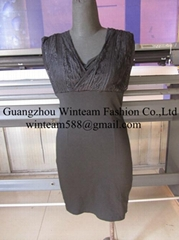 2014 lady sexy bodycon dress v neck chest inset lace fitted summer party dress