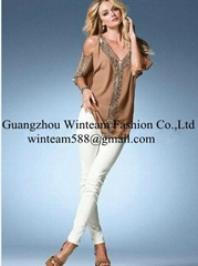2014 Lady's chiffon top with bead off shoulder summer pullover blouse