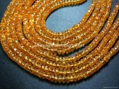 Mandarine Garnet Gemstone Faceted Roundelle Beads