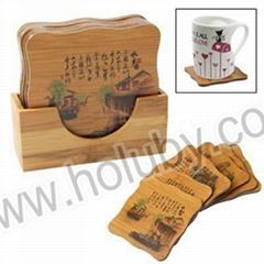 Chinese Scenery Painting Natural Bamboo 6 Pieces Coaster Set Cup Mat with Holder