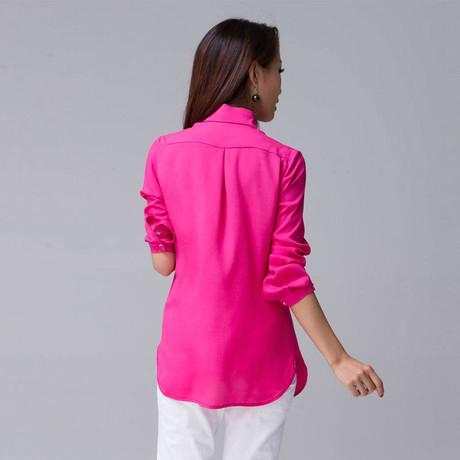 Latest Casual chiffon long-sleeved blouse for ladies 2