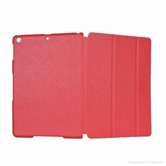 Flip leather cover case with stand for ipad 5, tri fold PU leather folio case