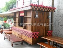 供应国内实木售货车,仿古售货亭,景区小吃车