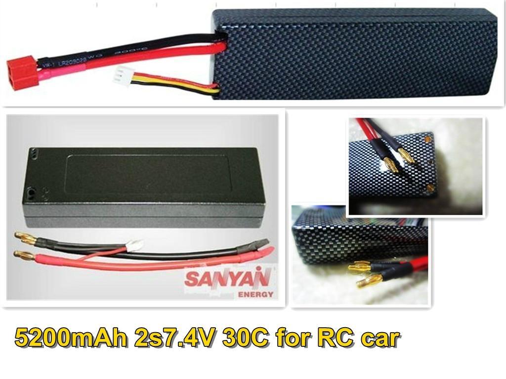 6500mah 7.4V2S 65c CONTINUES for RC car 1/10 1/8 4