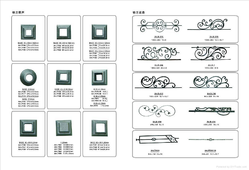 Wrought iron door & window ornament accessories, forged steel & cast steel rail 2
