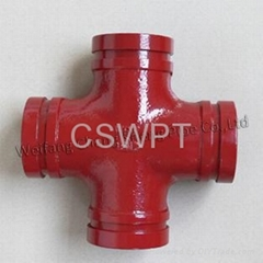 Ductile Iron Mechanical Cross Threaded Grooved Pipe Fitting