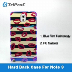 Luxury Blue Film Coating PC Hard Back Cover Phone Case for Samsung Galaxy Note