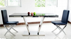 High fashion glass top dining table with metal frame Model
