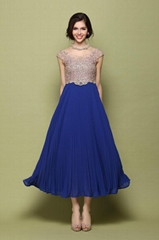 2014 style Embroidered pleated Big blue and white porcelain sapphire blue dress