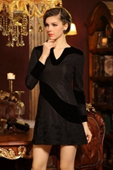 2014 Spring Autumn fashion hollow out bouffant long sleeve dress