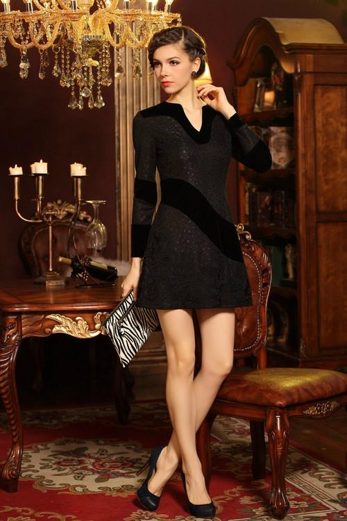 2014 Spring Autumn fashion hollow out bouffant long sleeve dress 5
