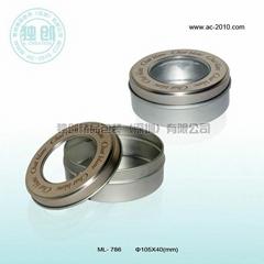 Round tin with PVC